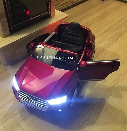 Электромобиль Audi Q7 S-line черный (колеса резина, сиденье кожа, пульт, музыка)